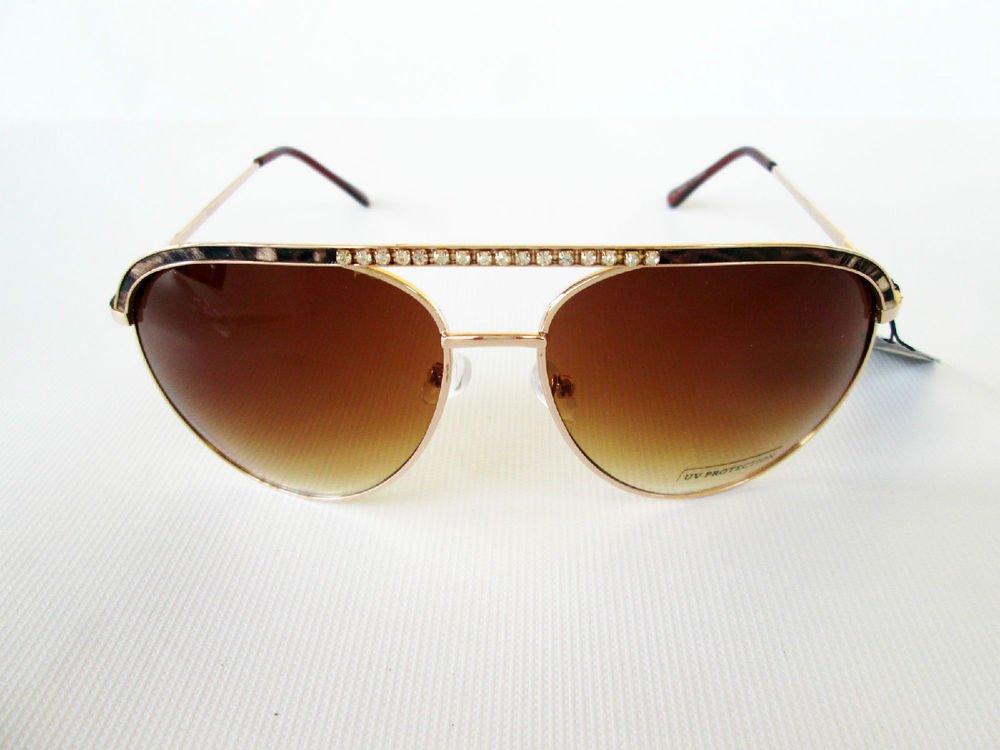 New Women's Aviator Sunglasses With Rhinestones & Gray and Gold Metal Frames