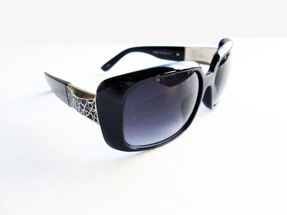 High Fashion Square Shaped Women's Black Sunglasses With Plastic & Metal Frames
