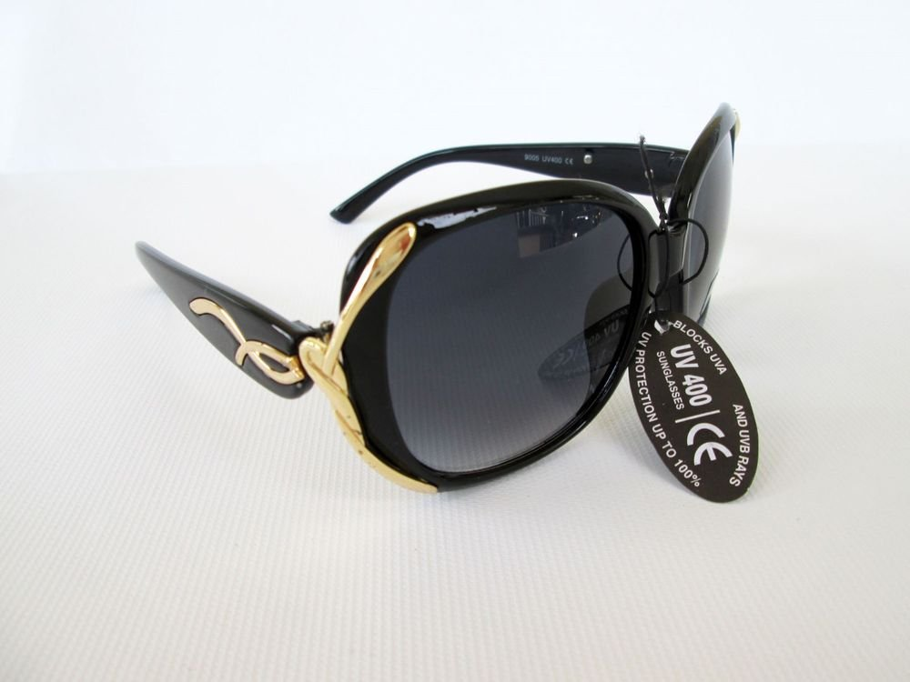Brand New Good High Fashion Black Sunglasses With Gold Metal and Plastic Frames