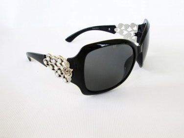 Brand New Good High Fashion Black Sunglasses With Rhinestones & Metal Frames