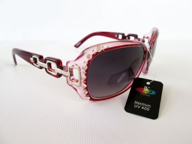 Good New Style Women's Sunglasses and Shades With Burgundy Frames & Rhinestones