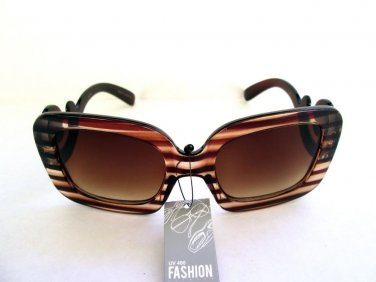 Brand New High Fashion Women's Brown Sunglasses Shades With Baroque Swirl Frames