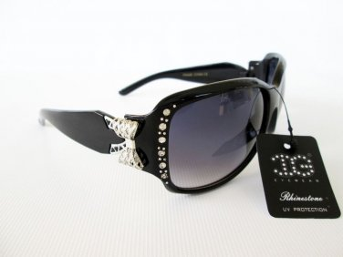 New Style Women's Oval or Round Sunglasses With Smoke Black Lens and Rhinestones