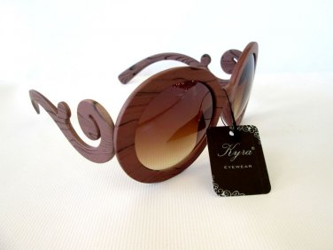 Wooden Look Brown or Oval Round Sunglasses With Brown Lens, Baroque Swirl Shades