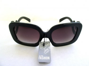 Popular Brand New High Fashion Womens Black Sunglasses with Baroque Swirl Frames