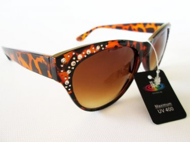New Fashion Design Women Brown Cat Eye Retro Classic Sunglasses With Rhinestones