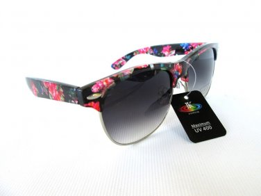 Women Sunglasses Wayfarer Style With Flower Print Frame & Black Lens  - NEW!