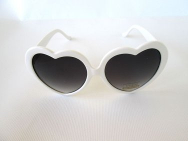Good Style Women Oval or Heart Shape Sunglasses With Smoke Lens & Whited Frames