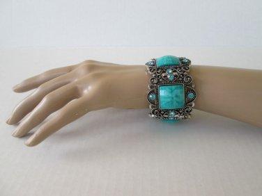 Adjustable High Fashion Turquoise Color Elastic Bangle Bracelet & Rhinestones