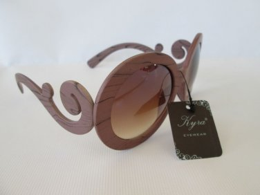 Brand New Good Style Women Sunglasses with Brown Lens & Wooden Look Swirl Frames