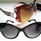 NEW 2-Pairs High Fashion Women's Cat Eye Sunglasses with Black and Brown Lens