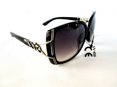 New Style Semi-sqare or Oval Shaped Women Sunglasses With Smoked Black Lens -
