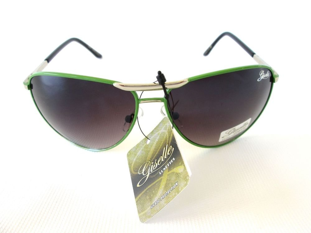 Brand New Women Aviator Sunglasses, Shades with Light Black Lens & Green Frames