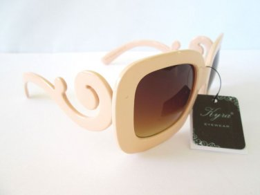 Women's Oval Square Sunglasses With Brown Lens & Ivory Color Swirl Arm Frames