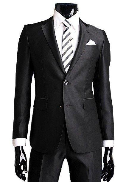 Мы доставим чёрный строгий мужской костюм-двойка из атласа + рубашка + галстук с брошью в любой город России