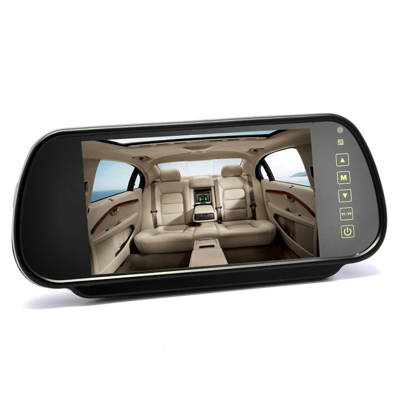 7 Inch Rearview Mirror Monitor - Touch Button Control, 4:3 Ratio, 480x234