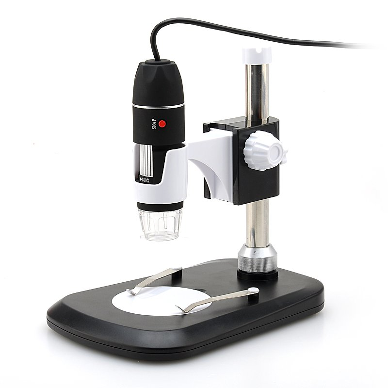 USB Digital Microscope - 2MP CMOS Sensor, 40X-800X Magnification, Photo + Video Support