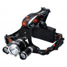 3 CREE XM-L T6 LED Head Lamp - 3800 Lumens, Adjustable Head Strap, Battery Charger, Weatherproof