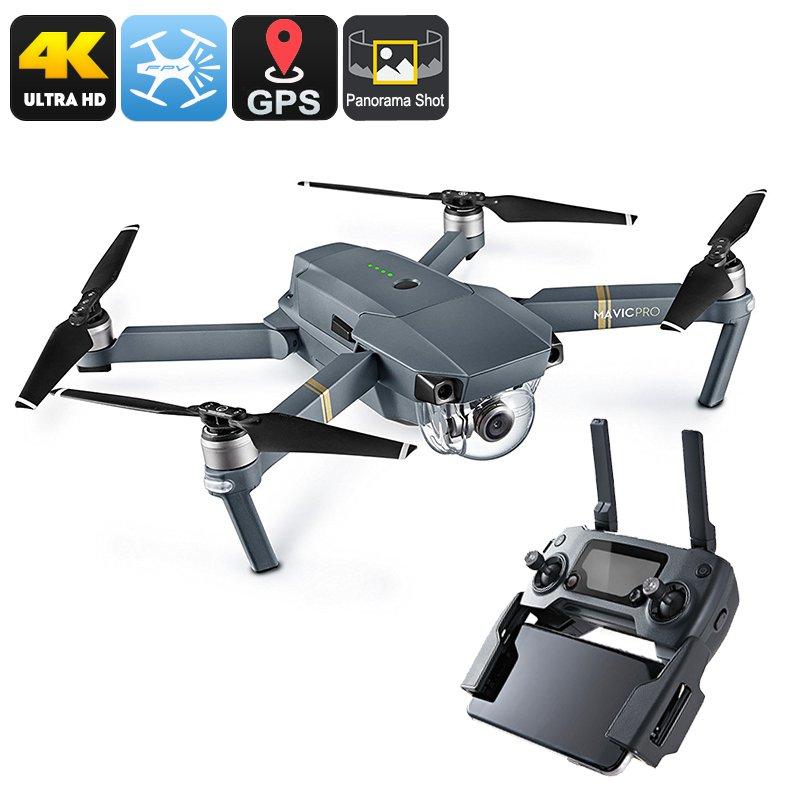 DJI Mavic Pro Camera Drone - GPS/GLONASS, 4 Mile Range, 4K Camera, 27Min Flight Time, 65Kmh, FPV