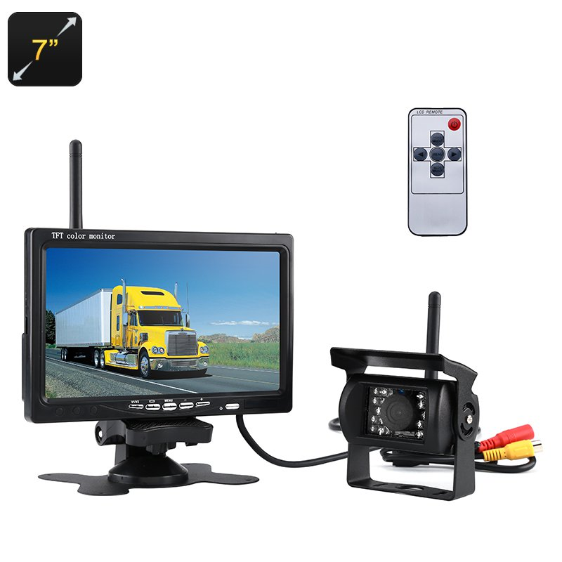 Rearview Parking Camera - 7-Inch, 2.4G Wireless Connection, Nightvision, Waterproof, 120-Degree Lens