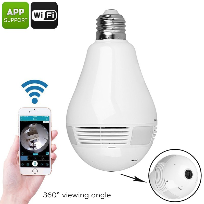 LED Light Bulb Security Camera - 360-Degree Fisheye, Motion Detection, WiFi, App, SD Card Recording