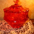 VINTAGE FENTON CANDY DISH W/  chipped LID . Orange glass Fenton