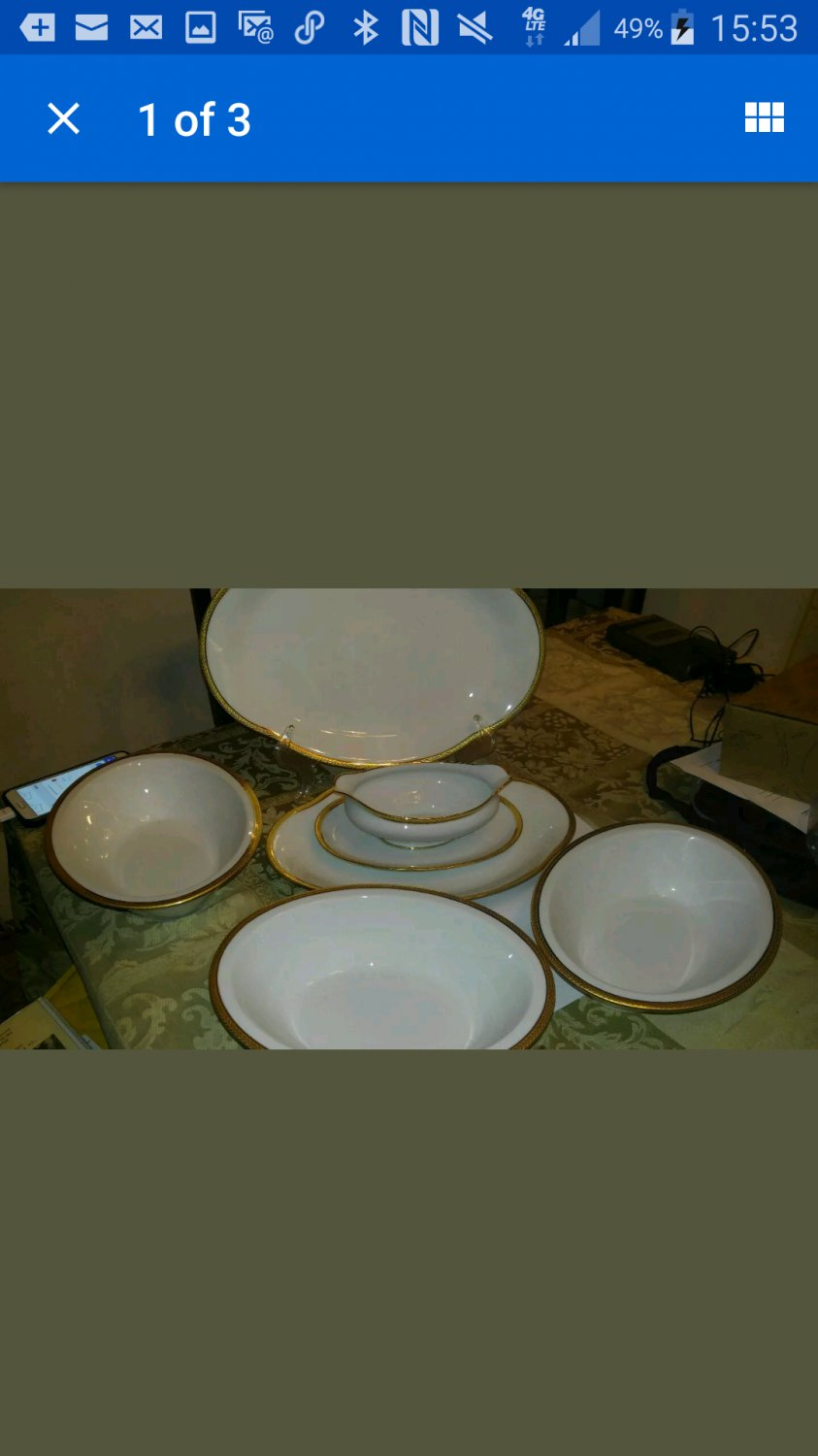 Paul Pastaud Limoges White & gold 12 pcs. SERVING dishes includes  3 oval bowls 1 gravy , 2 platter