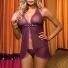 Purple Sheer Mesh Open Front Babydoll