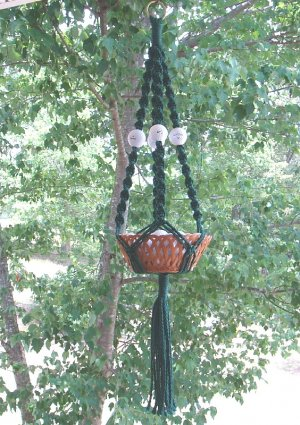 GOLF BALLS ! MACRAME PLANT HANGER   GREAT GIFT