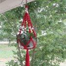 CHRISTMAS RED&WHITE  MACRAME PLANT HANGER