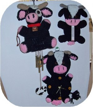 set of 3 cow crochet pattern set