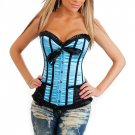 Blue Fashion Satin Lace Up Corset Bustier