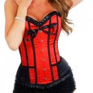 Red Satin Lace Up Corset Bustier