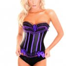 Black and Purple Ruffles and Bows Burlesque Corset