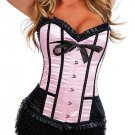 Sexy Pink Satin Lace Up Corset Bustier Hot