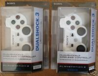 PS3 Wireless DualShock 3 Controller White Lot 2 NEW