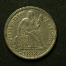 1873 Seated Liberty Dime W/Arrows VF35