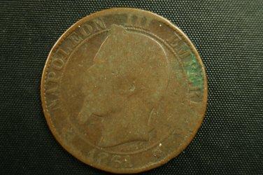 1861 Five Centimes- Second Empire