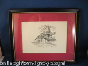 CLARK M GOFF LITHOGRAPH OF THE OLDEST HOUSE - FLORIDA