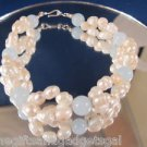 BEAUTIFUL PEARL AND BLUE JADE BRACELET - NEW