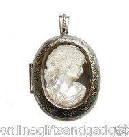 MOP cameo locket (40x45mm) - The cameo is made of high quality MOP - BEAUTY!!