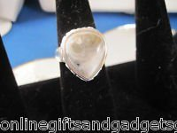 GENUINE  NATURAL HOWLITE  & .925 SS RING - SIZE 8