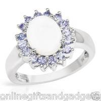 Brand New Ring With 2.45ctw Precious Stones - Opal, Tanzanites & .925 SS SIZE 8