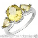 Three-stone Ring With 3.36ctw Genuine Quartz Beautifully Designed in 925 SS