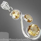YELLOW CITRINE ROUND OVAL 925 STERLING SILVER TRILOGY ARTISAN PENDANT 2""