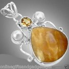 YELLOW FOSSIL CORAL PEAR CITRINE PEARL 925 STERLING SILVER ARTISAN PENDANT