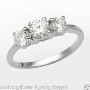 Exquisite Brand New Three-stone Ring With 1.75ctw Cubic zirconia