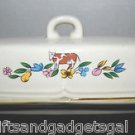 COUNTRY COW/FLORAL STONEWARE BUTTER DISH