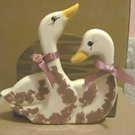 HAND MADE CERAMIC & WOOD COUNTRY STYLE DUCKS NAPKIN HOLDER