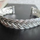13 MM WIDE .925 SS PLATED FASHION BRACELET - BRAIDED